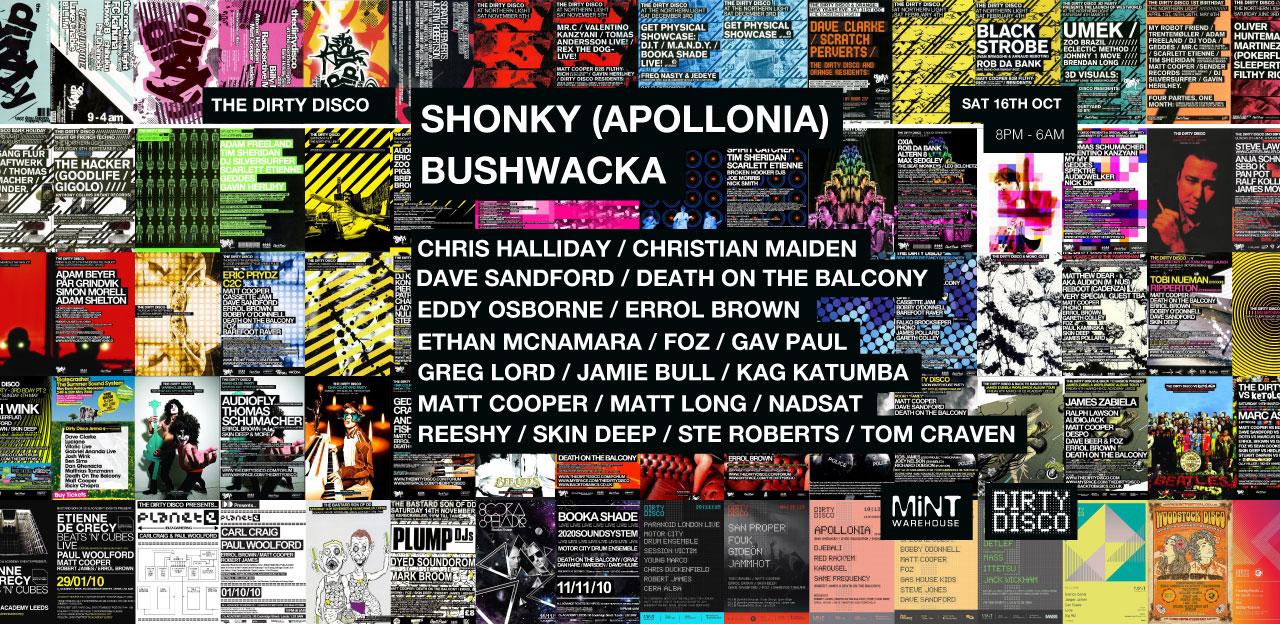 Dirty Disco - Sat 16th Oct - Shonky / Bushwacka